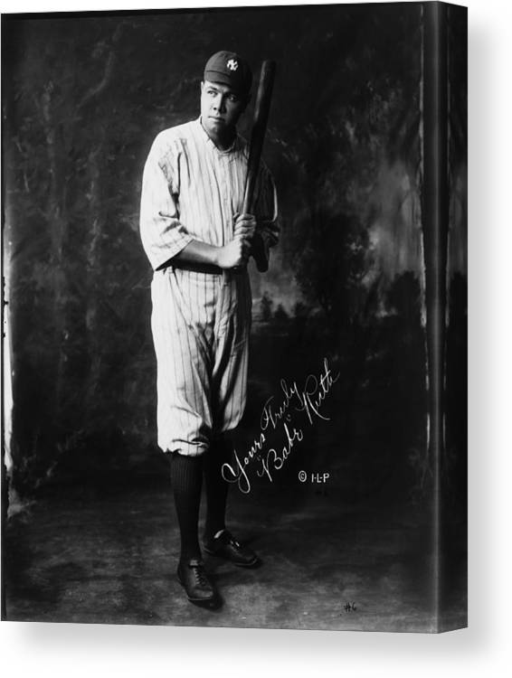People Canvas Print featuring the photograph Babe Ruth by Mpi