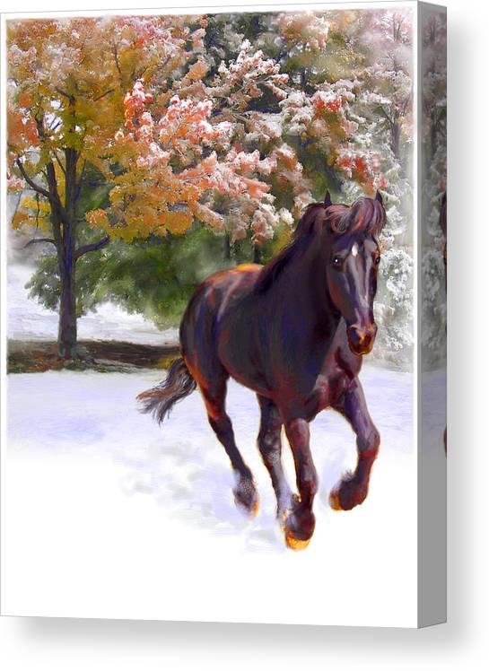 Horse Canvas Print featuring the painting Black Stallion In Fall Snow Fantasy Art by Connie Moses