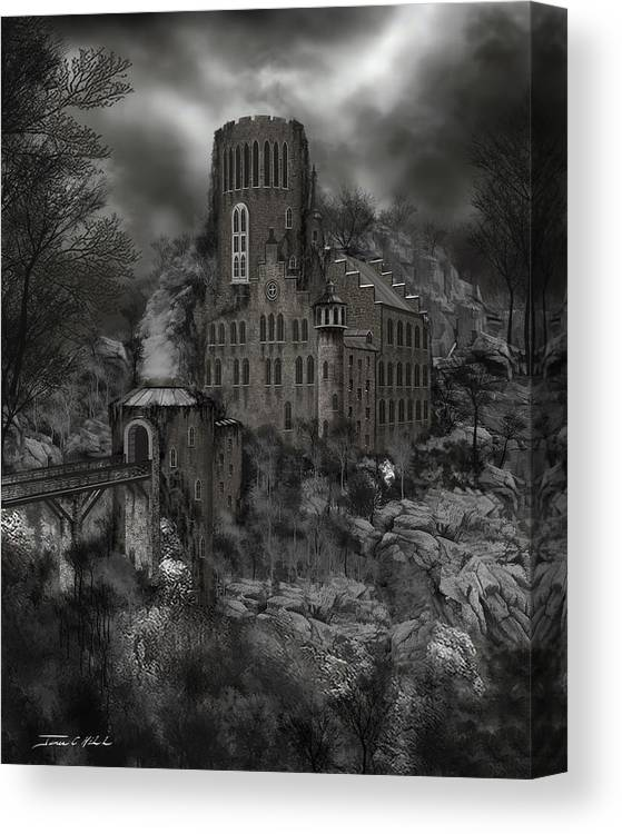 Castle Canvas Print featuring the painting Casa Los Diavla by James Christopher Hill