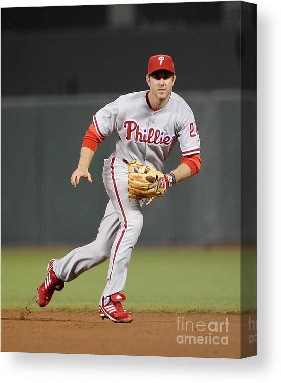 California Canvas Print featuring the photograph Chase Utley by Ezra Shaw