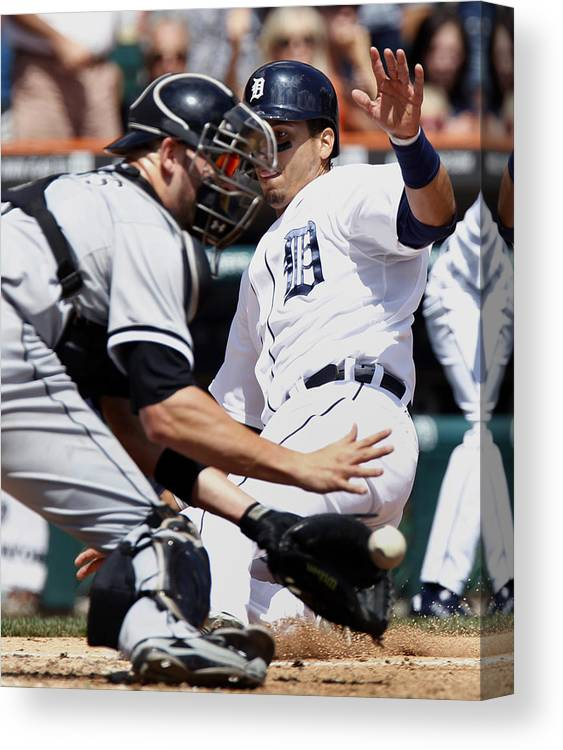 Baseball Catcher Canvas Print featuring the photograph Chicago White Sox v Detroit Tigers by Duane Burleson
