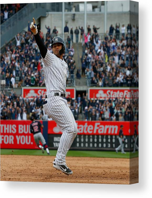 Ninth Inning Canvas Print featuring the photograph Cleveland Indians v New York Yankees by Jim McIsaac