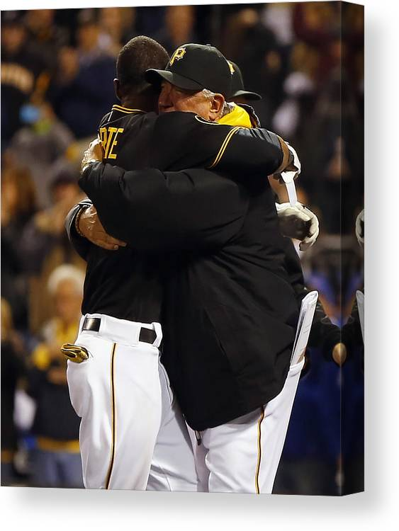 Ninth Inning Canvas Print featuring the photograph Clint Hurdle and Starling Marte by Matt Sullivan