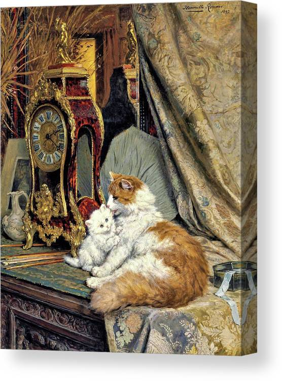 Clock Canvas Print featuring the painting Clock, Mother Cat and Kitten - Digital Remastered Edition by Henriette Ronner-Knip