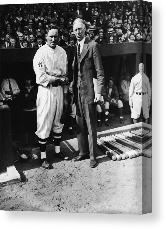 Crowd Canvas Print featuring the photograph Connie Mack, Ty Cobb, and Walter Johnson by Fpg