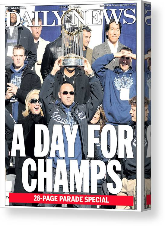 Showing Canvas Print featuring the photograph Derek Jeter by New York Daily News Archive