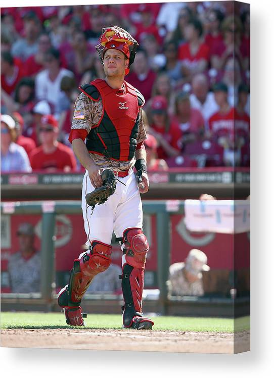 Great American Ball Park Canvas Print featuring the photograph Devin Mesoraco by Andy Lyons