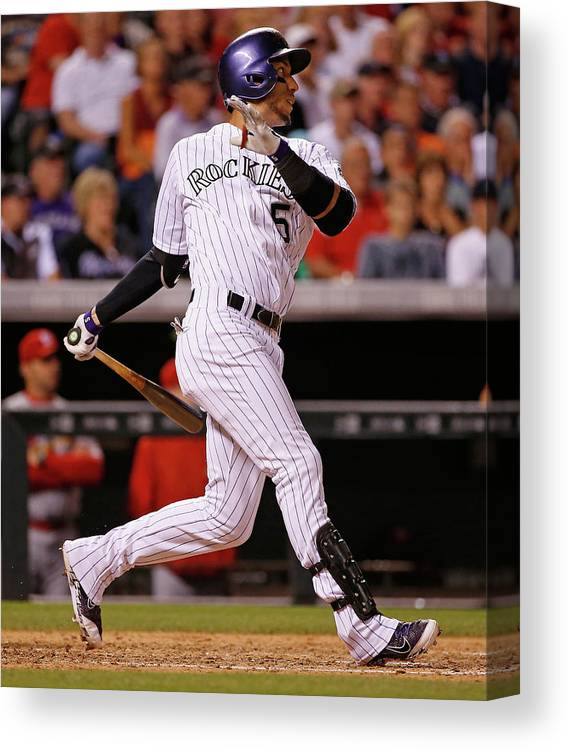 People Canvas Print featuring the photograph Dj Lemahieu, Carlos Gonzalez, and Randy Choate by Doug Pensinger