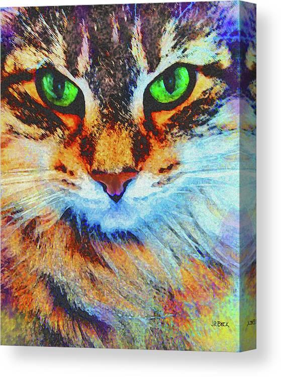 Emerald Gaze Canvas Print featuring the digital art Emerald Gaze by John Robert Beck