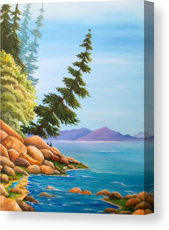 Hidden Cove Canvas Print featuring the painting Hidden Cove by Carol Sabo