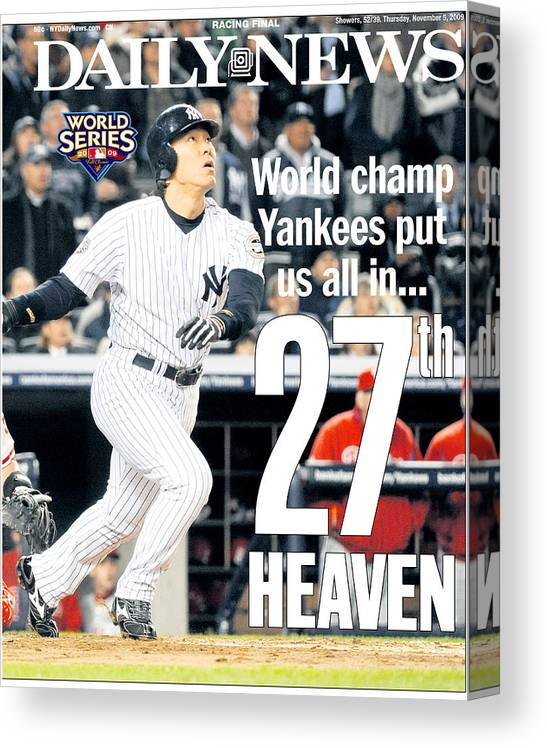 American League Baseball Canvas Print featuring the photograph Hideki Matsui by New York Daily News Archive
