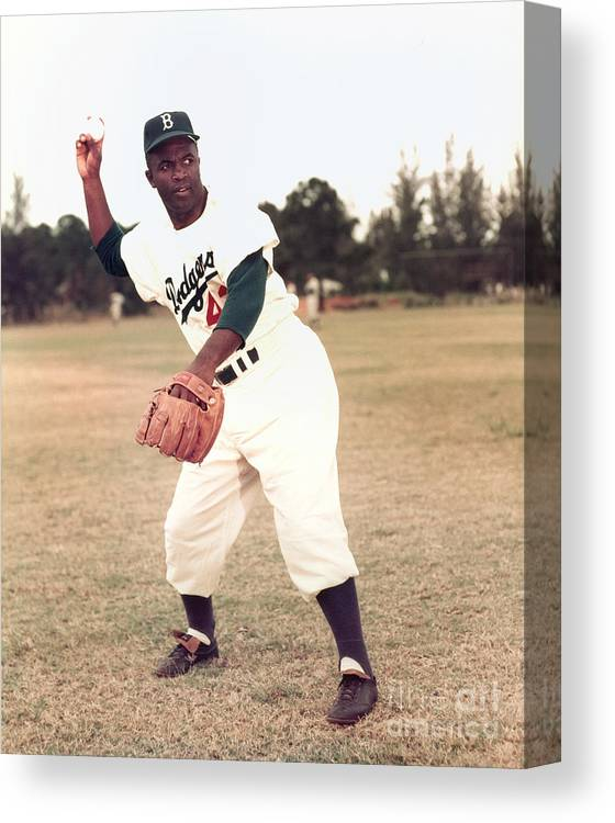 People Canvas Print featuring the photograph Jackie Robinson by Kidwiler Collection
