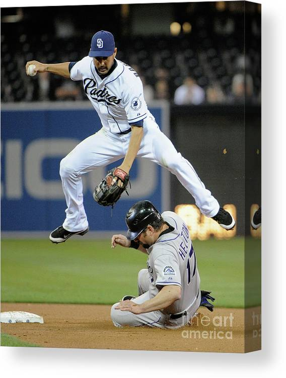 Double Play Canvas Print featuring the photograph Jason Bartlett and Todd Helton by Denis Poroy