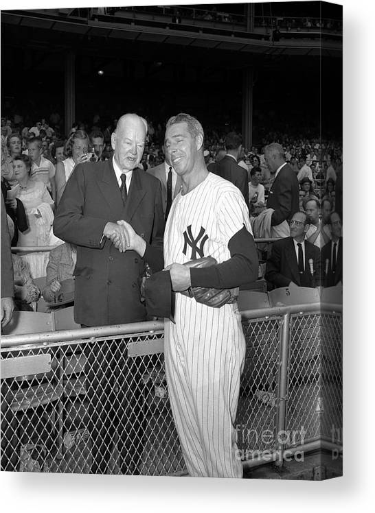 American League Baseball Canvas Print featuring the photograph Joe Hoover by Olen Collection