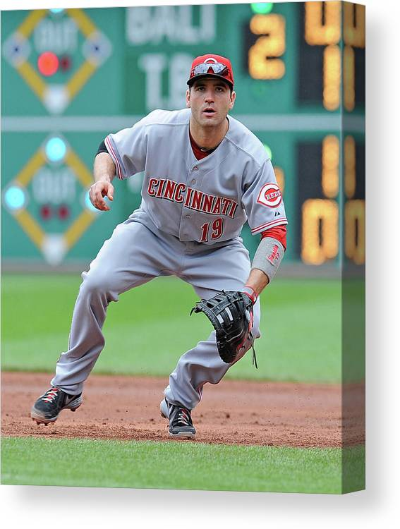 Pnc Park Canvas Print featuring the photograph Joey Votto by Joe Sargent
