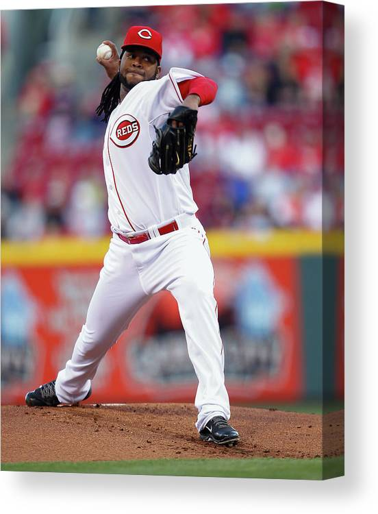 Great American Ball Park Canvas Print featuring the photograph Johnny Cueto by Michael Hickey