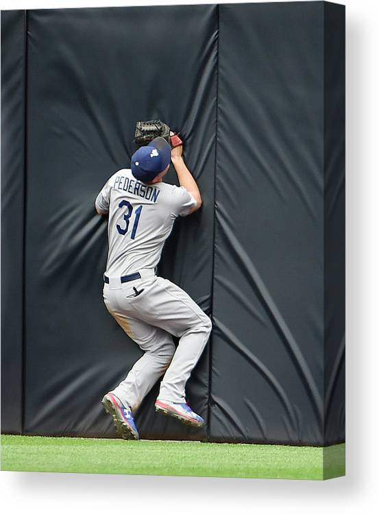 Ninth Inning Canvas Print featuring the photograph Justin Upton And Joc Pederson by Denis Poroy
