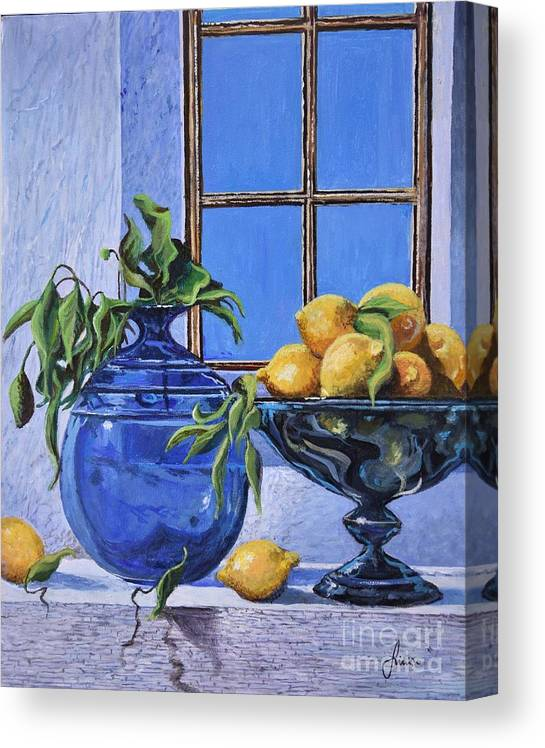 Original Painting Canvas Print featuring the painting Lemons by Sinisa Saratlic