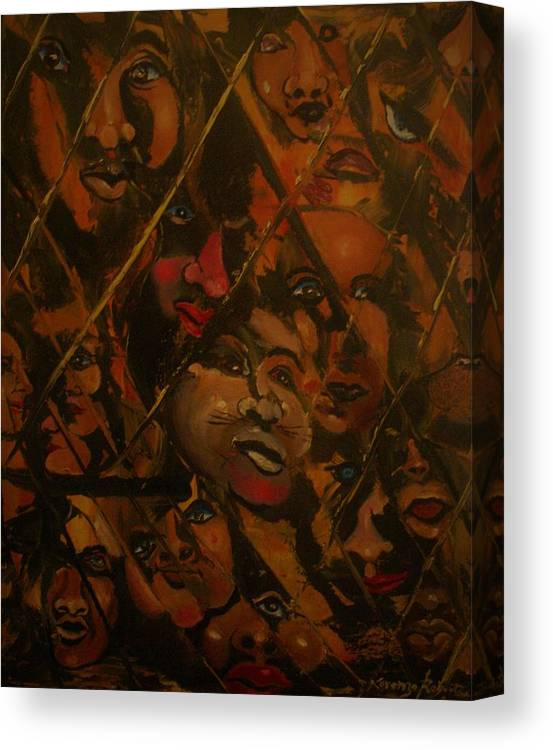 Abstract Canvas Print featuring the painting Let Us Out by Lorenzo Roberts