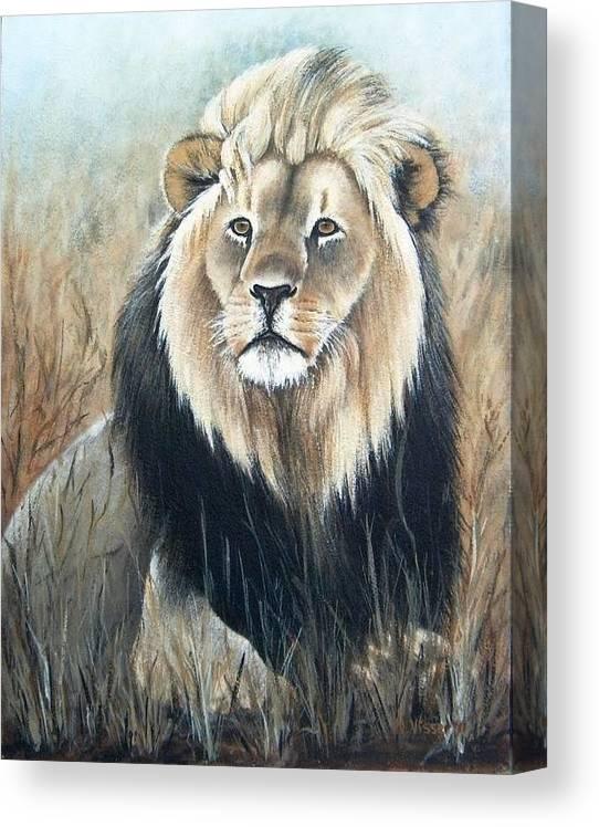 Landscape Canvas Print featuring the painting Lion by Nellie Visser