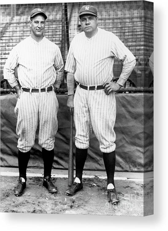 American League Baseball Canvas Print featuring the photograph Lou Gehrig and Babe Ruth by National Baseball Hall Of Fame Library