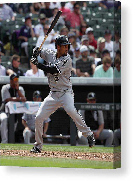 American League Baseball Canvas Print featuring the photograph Marcus Semien by Doug Pensinger