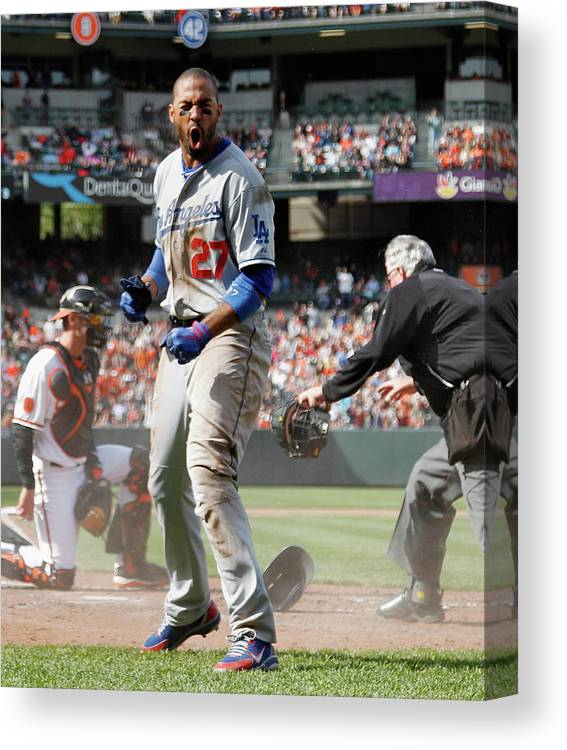 American League Baseball Canvas Print featuring the photograph Matt Kemp by Rob Carr