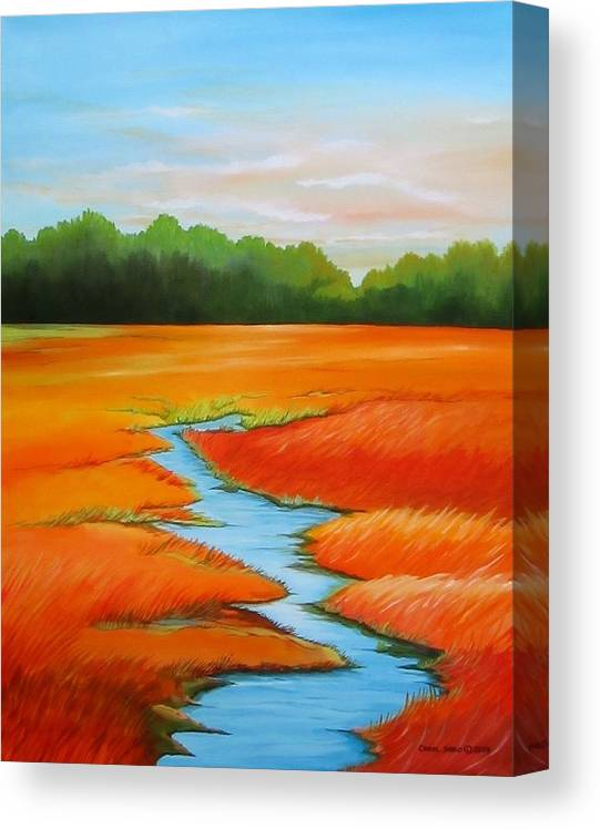 Stream Canvas Print featuring the painting Meandering Stream by Carol Sabo