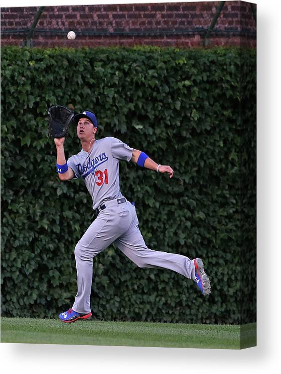 People Canvas Print featuring the photograph Miguel Montero And Joc Pederson by Jonathan Daniel
