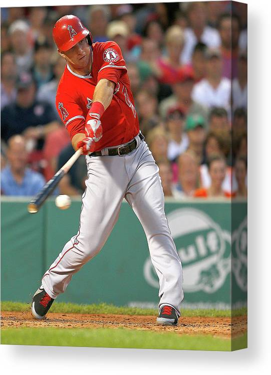People Canvas Print featuring the photograph Mike Trout by Jim Rogash