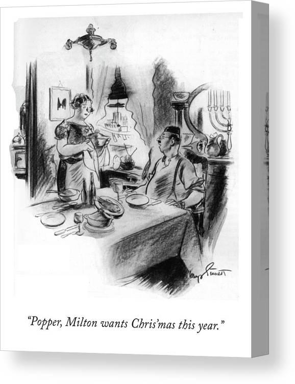 105972 Kst Kemp Starrett Canvas Print featuring the drawing Milton wants Christmas by Kemp Starrett