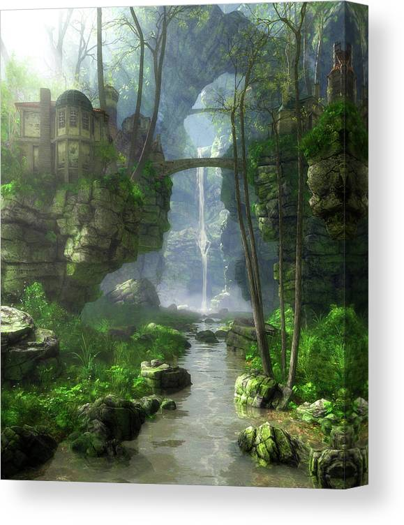 Fantasy Canvas Print featuring the digital art Mist Valley by Cynthia Decker