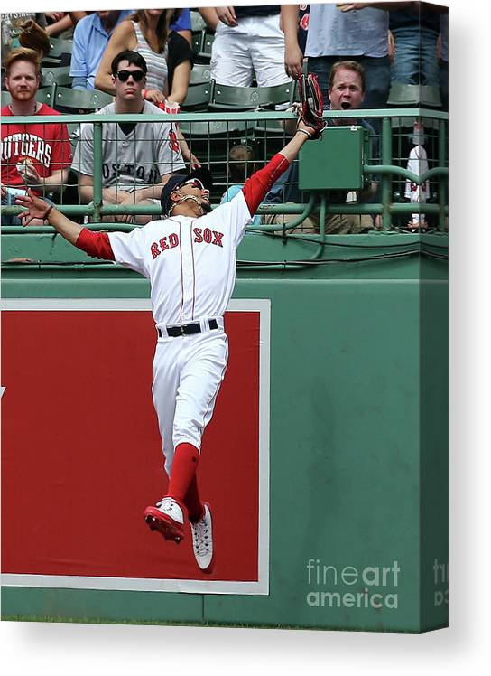 People Canvas Print featuring the photograph Mitch Haniger and Mookie Betts by Jim Rogash