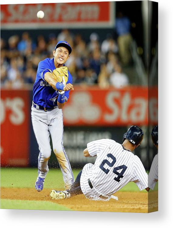 Double Play Canvas Print featuring the photograph Munenori Kawasaki and Chris Young by Jim Mcisaac