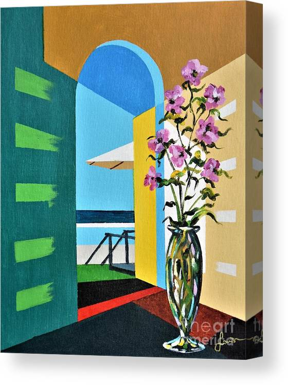 Still Life Canvas Print featuring the painting Ocean View by Sinisa Saratlic