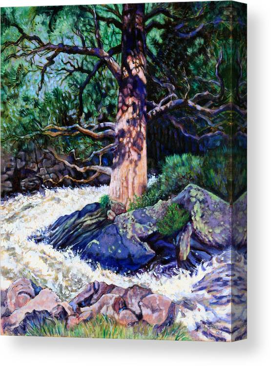 Old Pine Canvas Print featuring the painting Old Pine In Rushing Stream by John Lautermilch