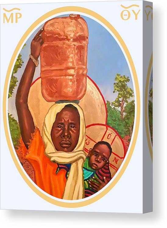 Canvas Print featuring the painting Our Lady of the Journey #2 by Kelly Latimore