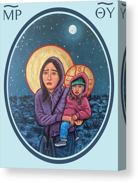 Iconography Canvas Print featuring the painting Our Lady of the Journey by Kelly Latimore