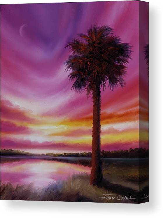 Sunrise Canvas Print featuring the painting Palmetto Moon by James Christopher Hill