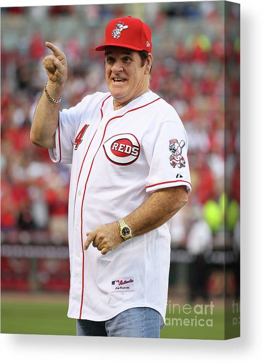 Great American Ball Park Canvas Print featuring the photograph Pete Rose by Andy Lyons