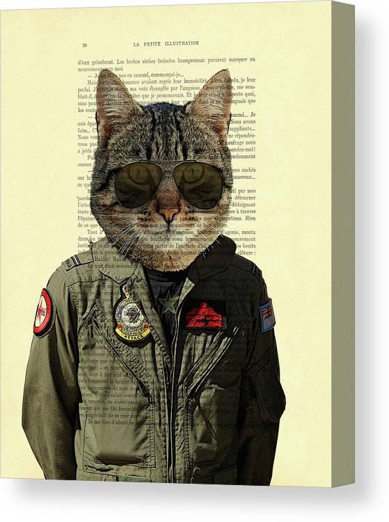 Cat Canvas Print featuring the digital art Pilot cat portrait on antique book page by Madame Memento