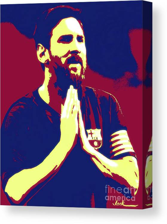 Messi Canvas Print featuring the painting Prayerful Messi by Jack Bunds