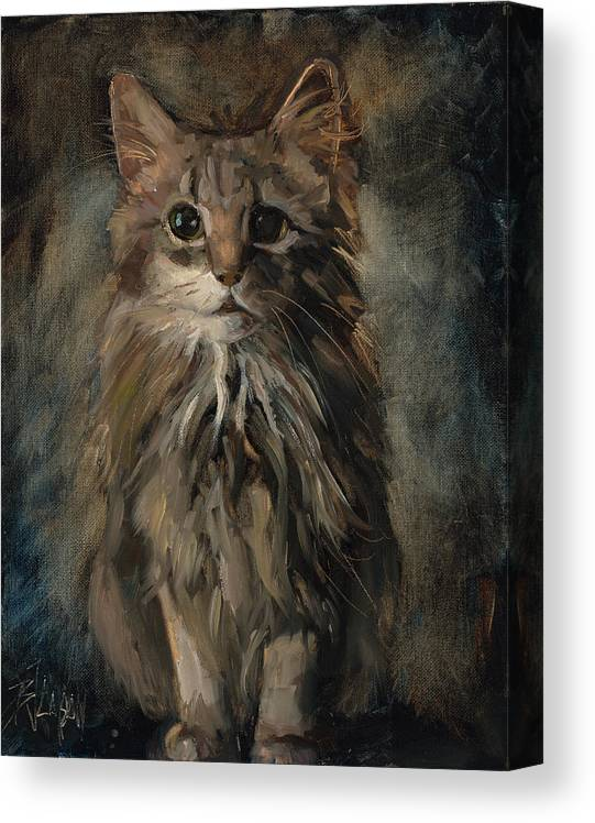 Maine Coon Art Canvas Print featuring the painting Purrfect by Billie Colson