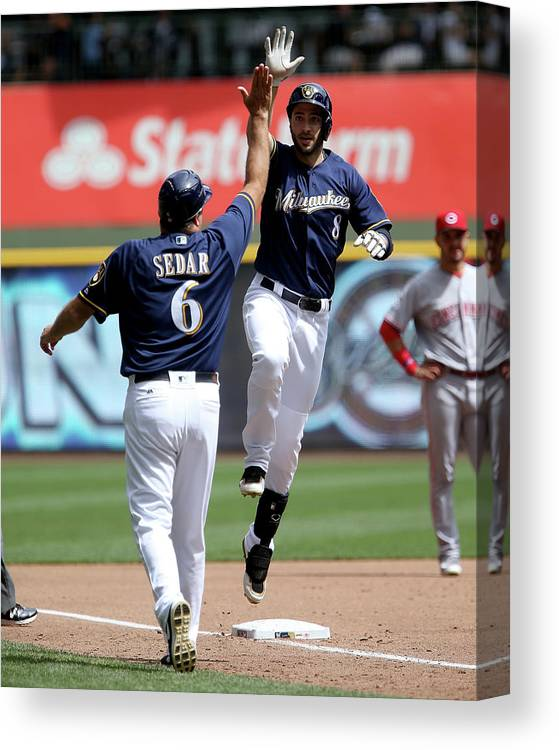 Second Inning Canvas Print featuring the photograph Ryan Braun by Dylan Buell