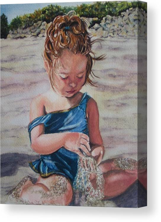 Beach Canvas Print featuring the painting Sand by Karen Ilari