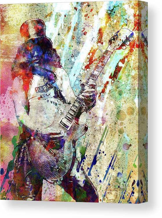 Rock N Roll Canvas Print featuring the painting Slash Original by Ryan Rock Artist