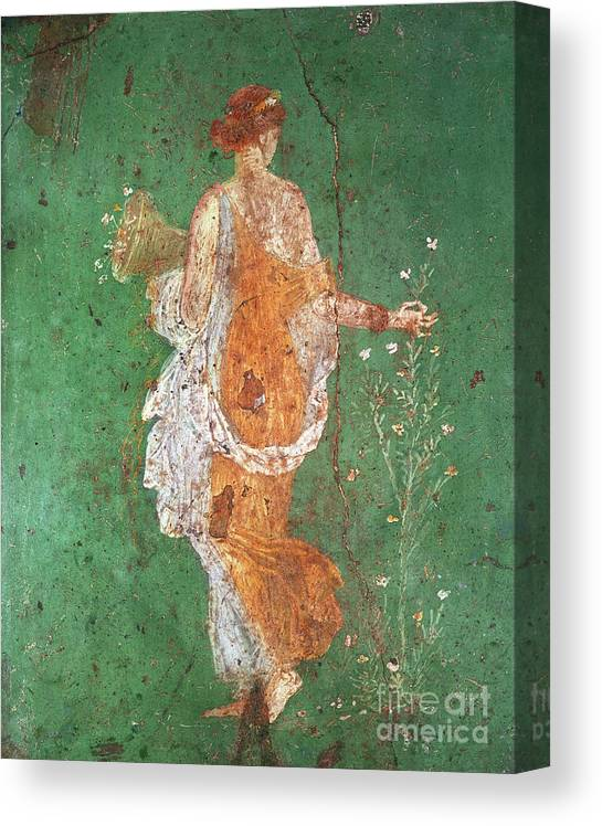 Spring Canvas Print featuring the painting Spring, maiden gathering flowers, from the villa of Varano in Stabiae by Roman School