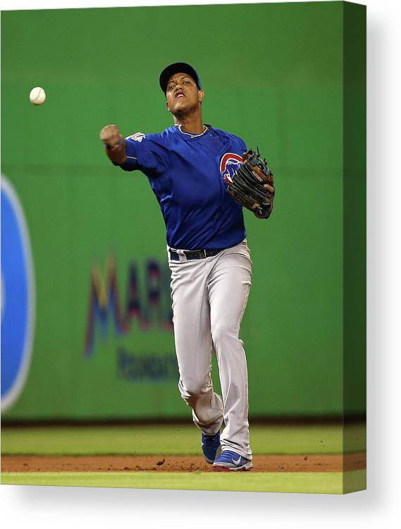 People Canvas Print featuring the photograph Starlin Castro by Mike Ehrmann
