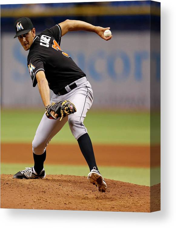 Ninth Inning Canvas Print featuring the photograph Steve Cishek by Mike Carlson