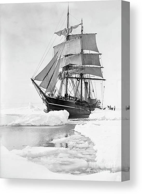 1900s Canvas Print featuring the photograph Terra Nova in Antarctic pack ice, 1910 by Scott Polar Research Institute